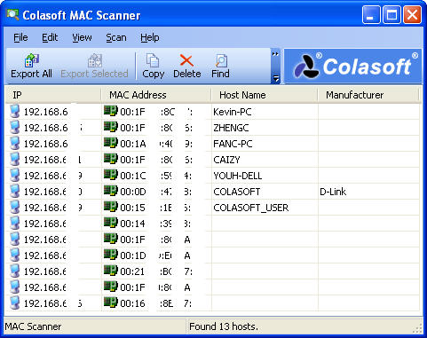 Colasoft MAC Scanner Screenshot